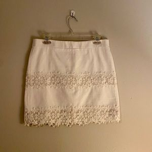 White lace embroidered J. crew skirt